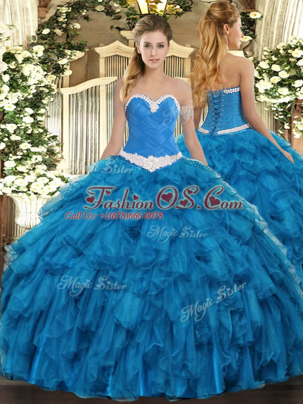 Enchanting Blue Lace Up Sweet 16 Quinceanera Dress Appliques and Ruffles Sleeveless Floor Length