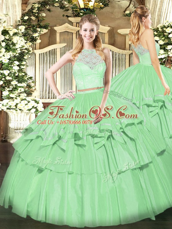 Apple Green Scoop Zipper Lace and Ruffled Layers Quinceanera Gown Sleeveless