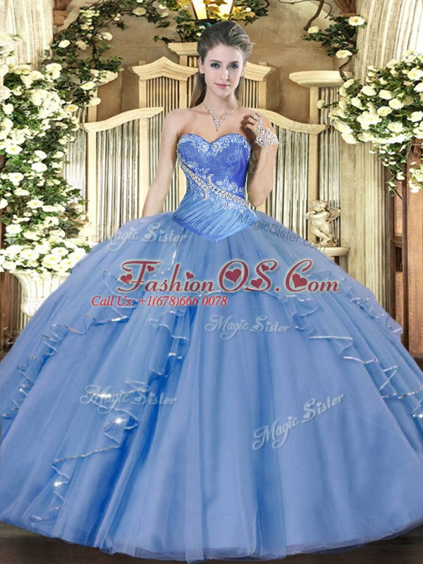 Sleeveless Tulle Floor Length Lace Up Quinceanera Gowns in Aqua Blue with Beading and Ruffles