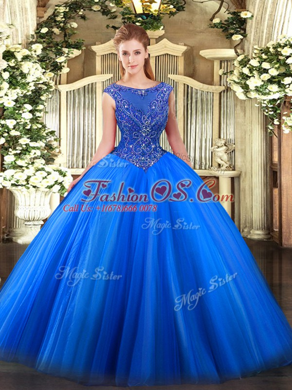 Superior Royal Blue Ball Gowns Beading and Appliques Quinceanera Dress Zipper Tulle Sleeveless Floor Length