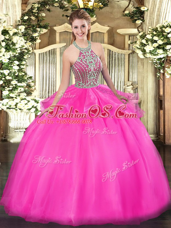 Stylish Sleeveless Tulle Floor Length Lace Up Quinceanera Gowns in Hot Pink with Beading and Ruffles