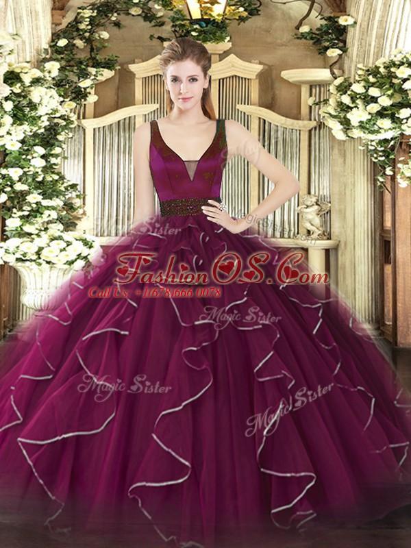 Stunning Sleeveless Beading and Ruffles Zipper Quince Ball Gowns