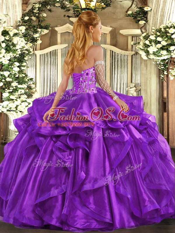 Custom Fit Teal Ball Gown Prom Dress Military Ball and Sweet 16 and Quinceanera with Embroidery and Ruffles Sweetheart Sleeveless Lace Up