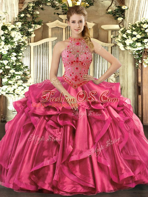 Hot Pink Lace Up Quinceanera Gowns Beading and Embroidery and Ruffles Sleeveless Floor Length