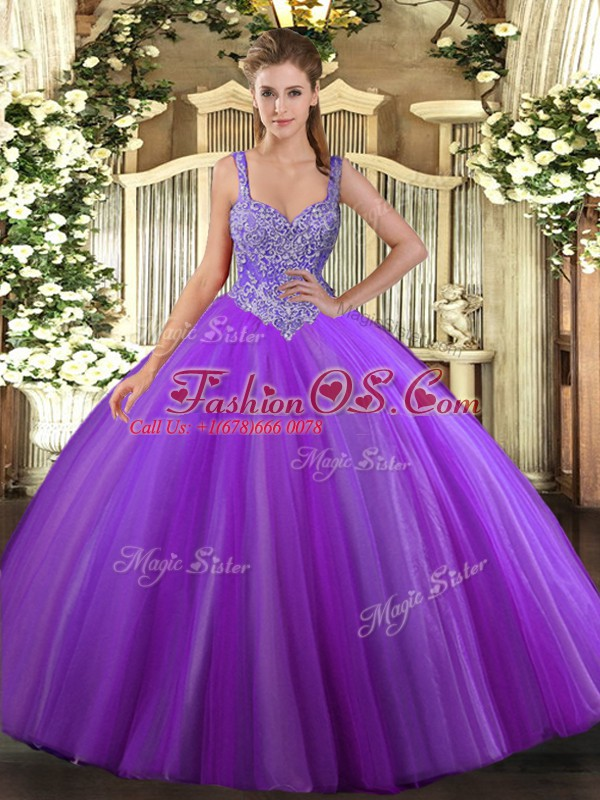 Super Purple Ball Gowns Beading Sweet 16 Dress Lace Up Tulle ...