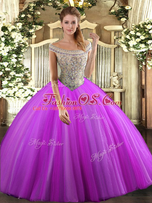 Fuchsia Sweet 16 Quinceanera Dress Sweet 16 and Quinceanera with Beading Off The Shoulder Sleeveless Lace Up