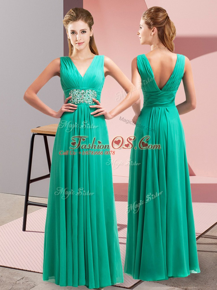 Turquoise Empire V-neck Sleeveless Chiffon Floor Length Side Zipper Beading and Ruching Prom Evening Gown