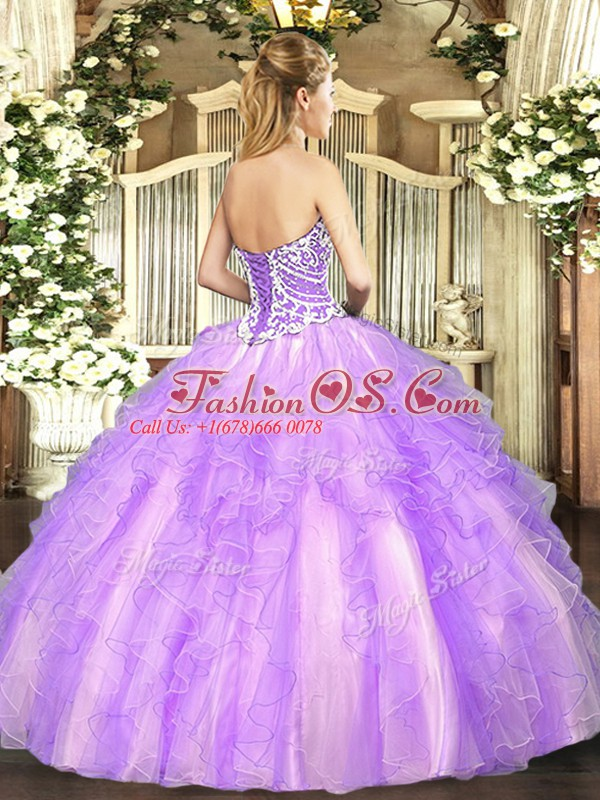 Tulle Sleeveless High Low 15 Quinceanera Dress and Beading and Ruffles