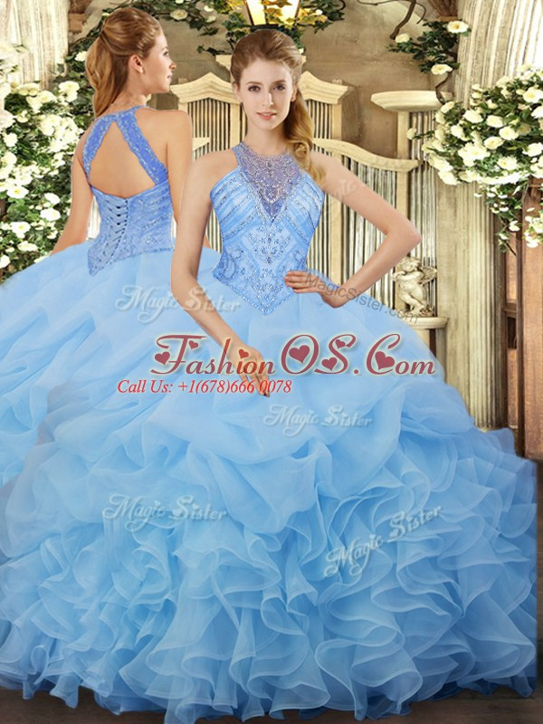 Gorgeous Floor Length Aqua Blue 15 Quinceanera Dress Organza Sleeveless Beading and Ruffles and Pick Ups