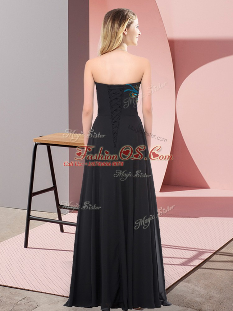 Luxury Floor Length Empire Sleeveless Black Dress for Prom Lace Up