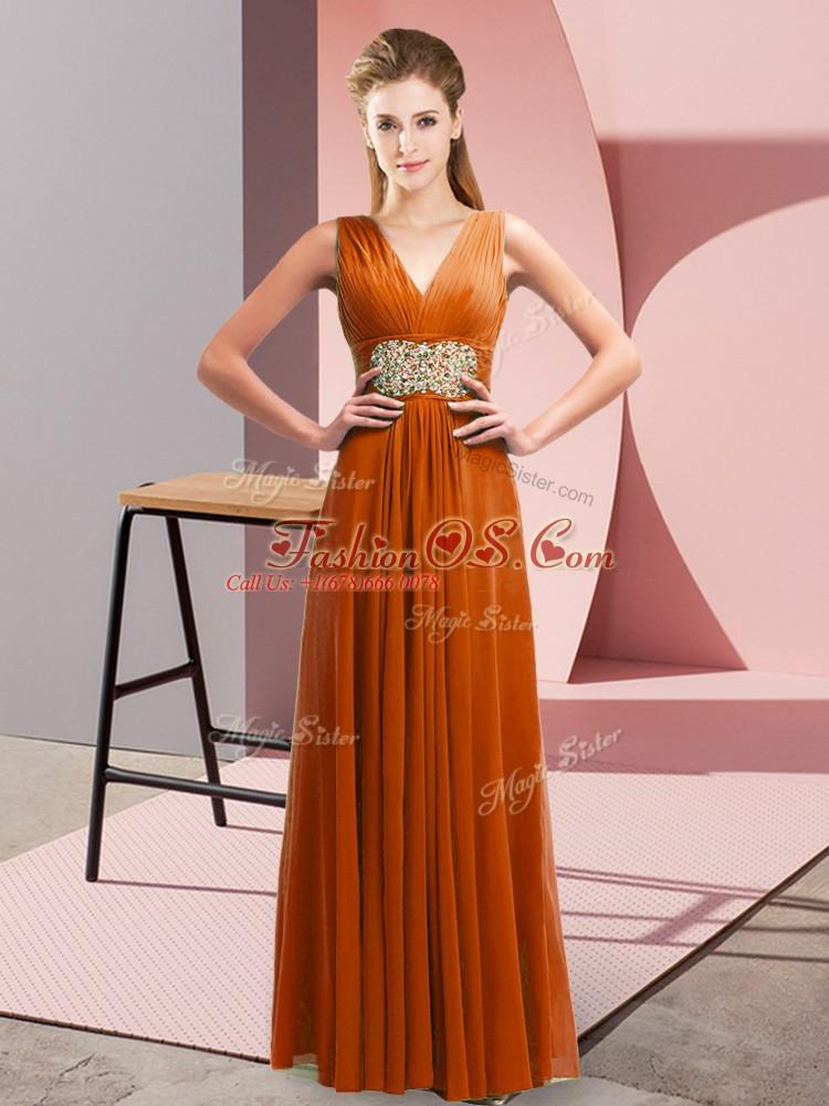 Floor Length Rust Red Prom Dress Chiffon Sleeveless Beading and Ruching