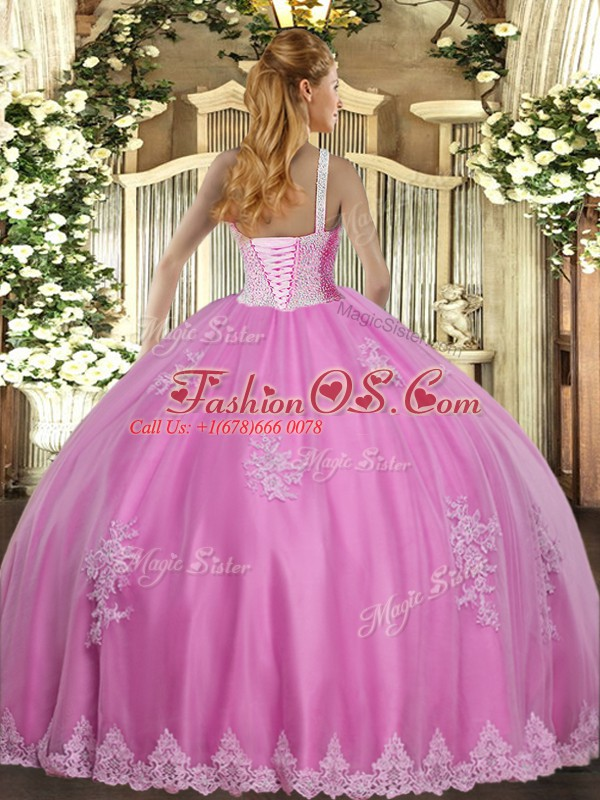Great High-neck Sleeveless Ball Gown Prom Dress Floor Length Beading and Appliques Rose Pink Tulle