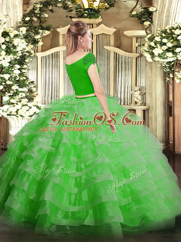 Most Popular Floor Length Lilac Quinceanera Dress Tulle Short Sleeves Appliques and Ruffled Layers
