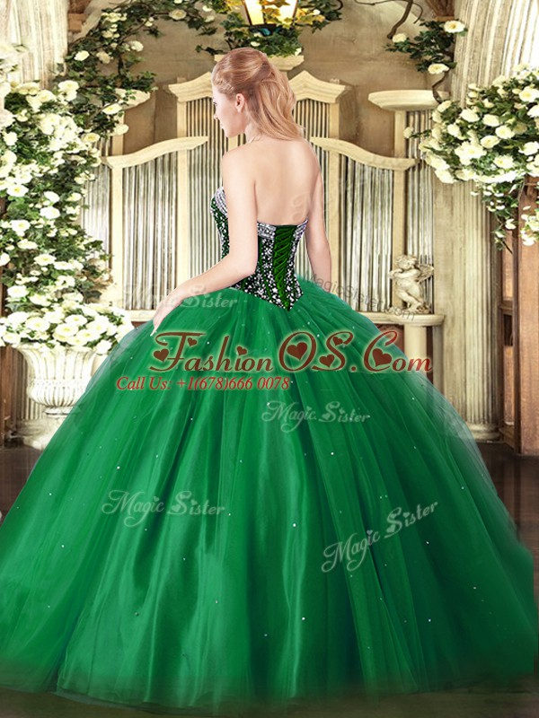 Fantastic Green Sweetheart Neckline Beading Quinceanera Dresses Sleeveless Lace Up
