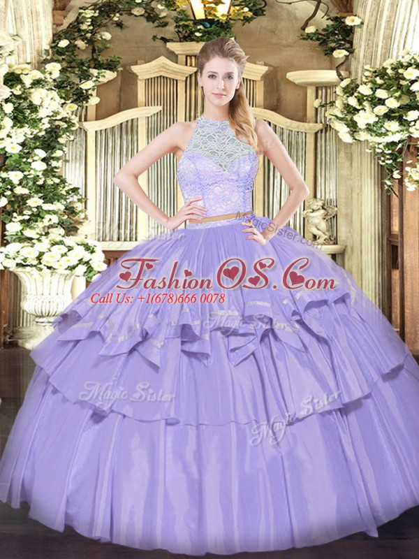 Fabulous Lavender Sleeveless Floor Length Lace and Ruffled Layers Zipper Ball Gown Prom Dress