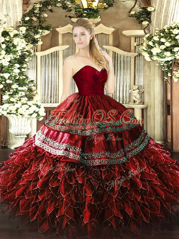 Wine Red Sweetheart Zipper Embroidery and Ruffles Sweet 16 Quinceanera Dress Sleeveless