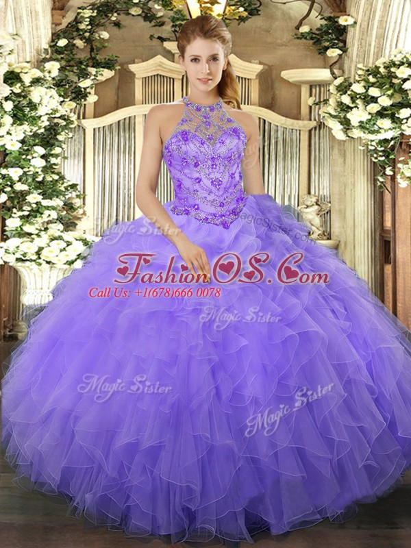 Captivating Floor Length Lavender Quince Ball Gowns Halter Top Sleeveless Lace Up