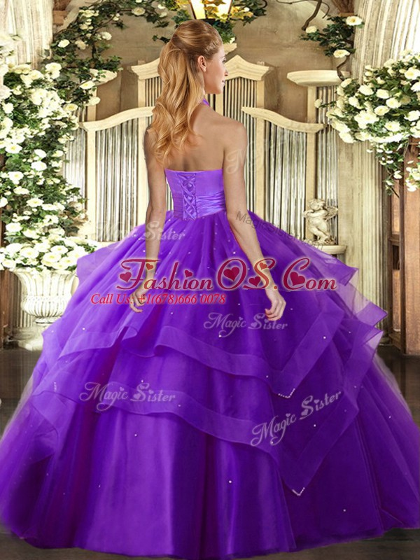 High Quality Purple Ball Gowns Halter Top Sleeveless Tulle Floor Length Lace Up Ruffled Layers Vestidos de Quinceanera