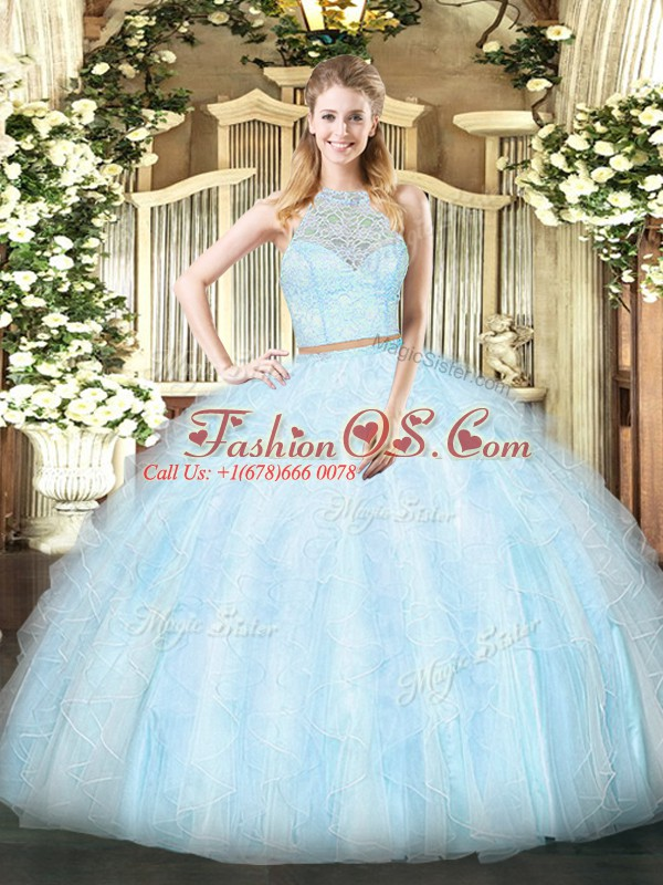 Floor Length Two Pieces Sleeveless Light Blue 15 Quinceanera Dress Zipper