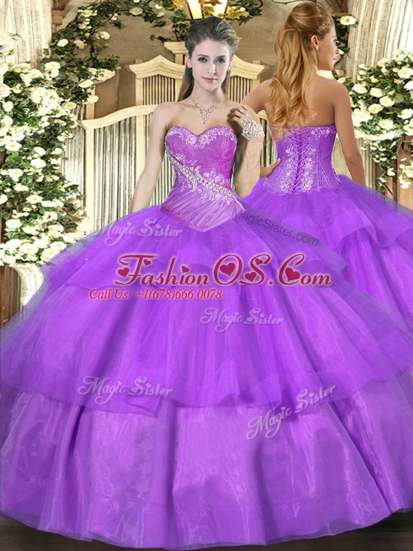 Custom Made Sleeveless Floor Length Beading and Ruffled Layers Lace Up Quinceanera Dress with Lilac