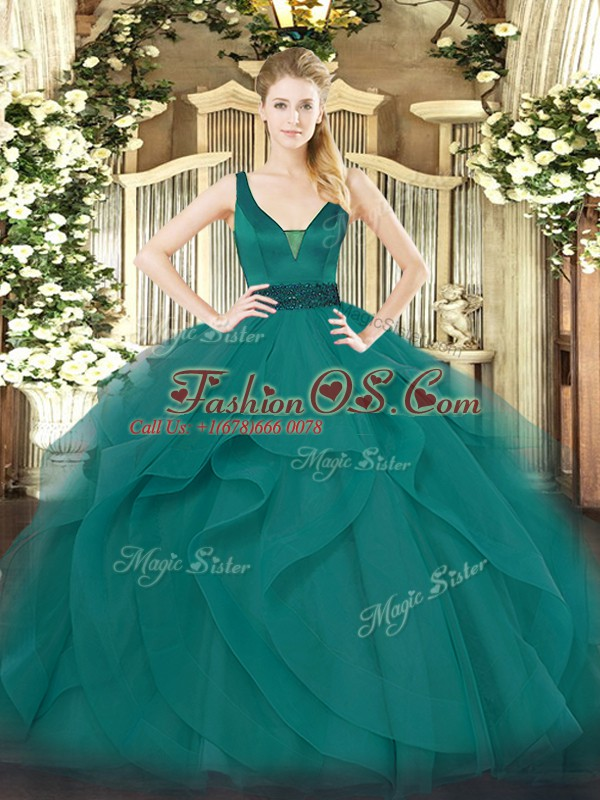 Most Popular Teal Straps Zipper Beading and Ruffles Quinceanera Dresses Sleeveless