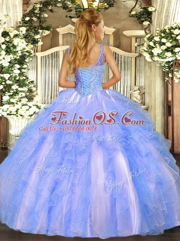 Customized V-neck Sleeveless Lace Up Sweet 16 Quinceanera Dress Lavender Tulle