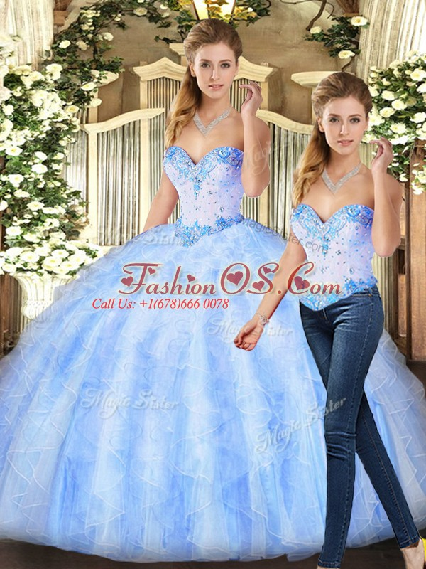 Modest Floor Length Ball Gowns Sleeveless Lavender Vestidos de Quinceanera Lace Up