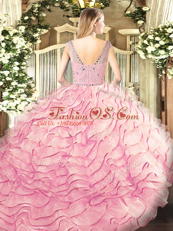 Unique Lavender Ball Gowns Tulle Bateau Sleeveless Beading and Ruffled Layers Zipper 15 Quinceanera Dress Sweep Train