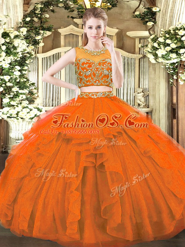 Sleeveless Tulle Floor Length Zipper Sweet 16 Dresses in Rust Red with Beading and Ruffles