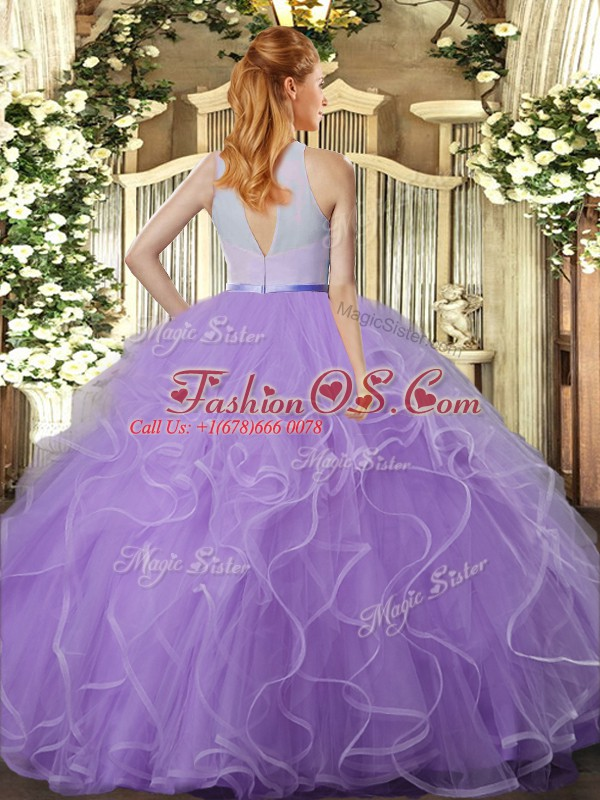 Flare Lavender Sleeveless Floor Length Beading and Ruffles Backless 15th Birthday Dress