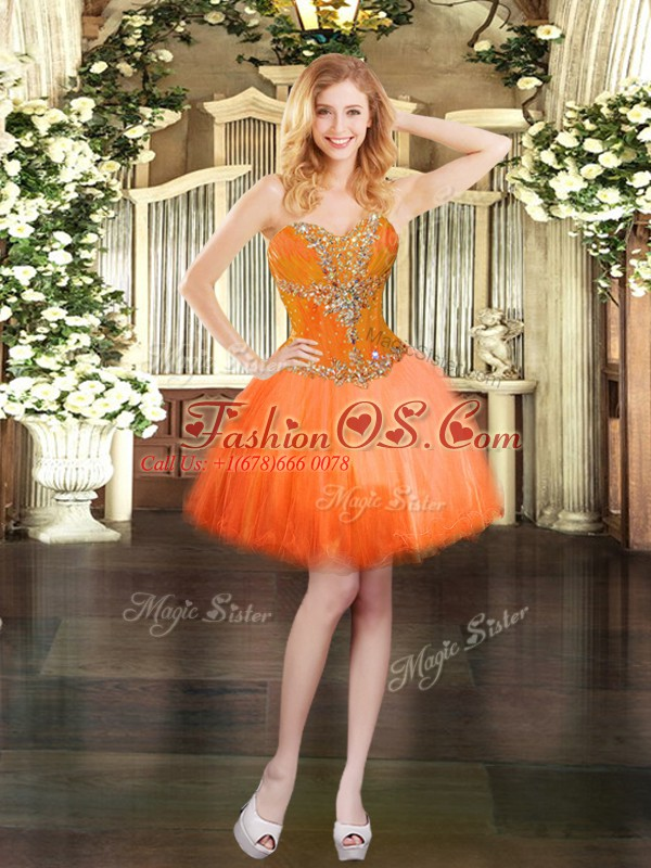 Edgy Orange Red Sweetheart Neckline Beading Prom Gown Sleeveless Lace Up