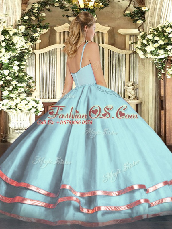 Unique Light Blue Straps Zipper Ruffled Layers Sweet 16 Dresses Sleeveless
