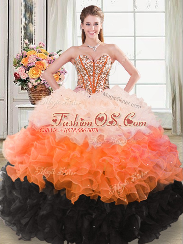 Ball Gowns Quinceanera Gown Multi-color Sweetheart Organza Sleeveless Floor Length Lace Up
