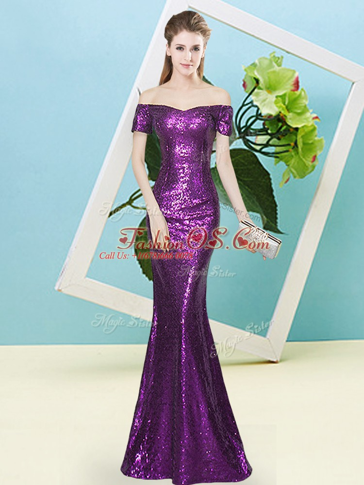Dramatic Purple Short Sleeves Floor Length Sequins Zipper Prom Party Dress