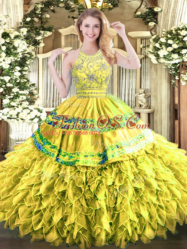 Adorable Organza Sleeveless Floor Length Sweet 16 Dresses and Beading and Ruffles