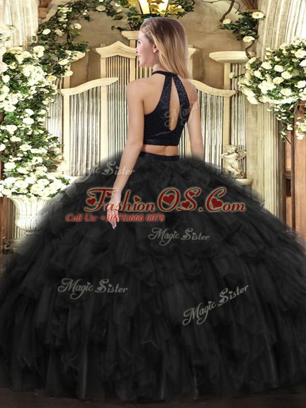 Ball Gowns Quinceanera Gown Green Halter Top Organza Sleeveless Floor Length Backless