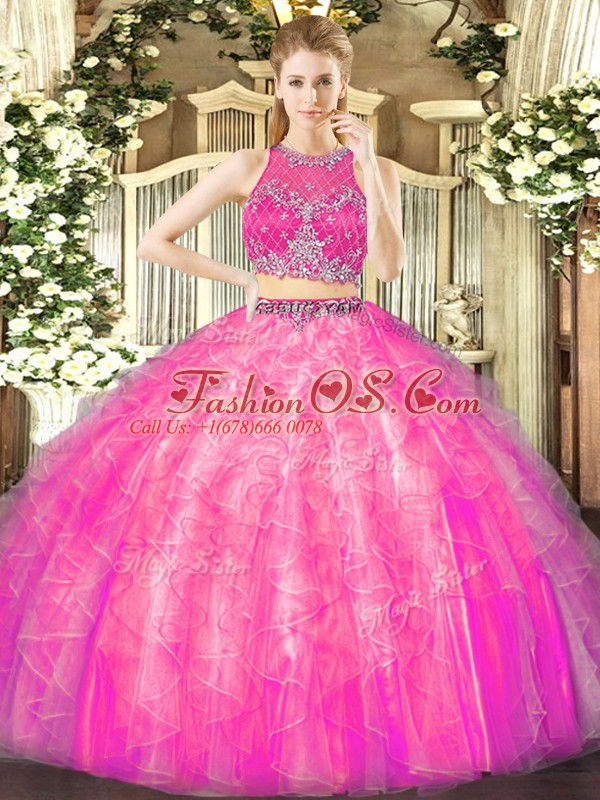 Fuchsia Two Pieces Beading and Ruffles Sweet 16 Dresses Zipper Tulle Sleeveless Floor Length