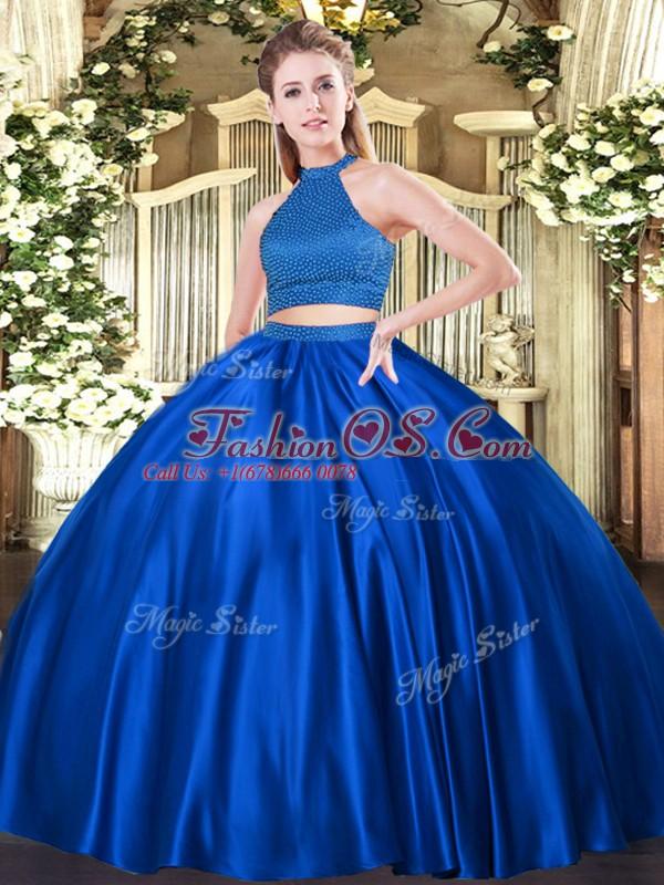 Royal Blue Tulle Backless Ball Gown Prom Dress Sleeveless Floor Length Beading