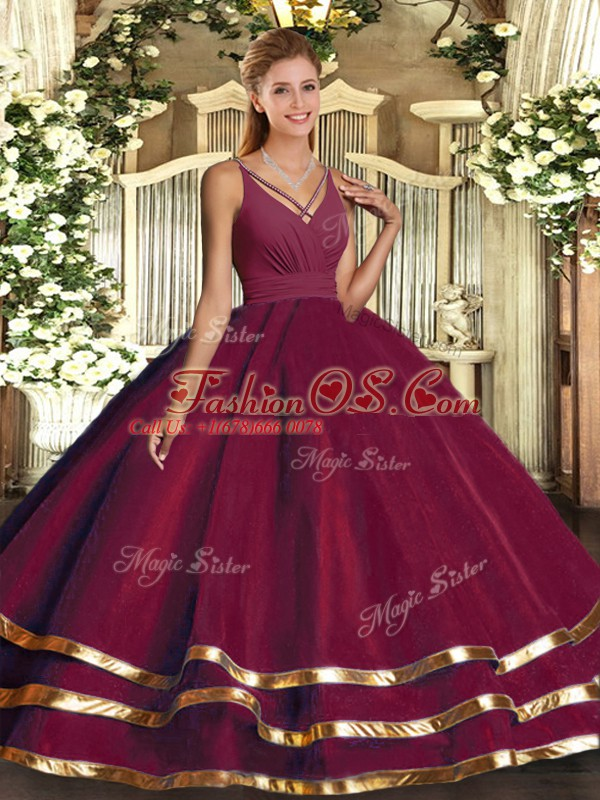 Burgundy Sleeveless Organza Backless Quinceanera Gowns for Sweet 16 and Quinceanera