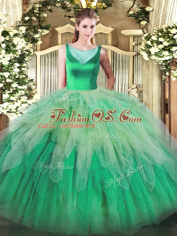 Charming Multi-color Sleeveless Beading and Ruffles Floor Length 15 Quinceanera Dress