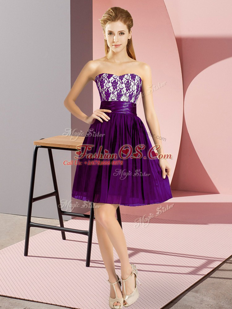 Purple Prom Dress Prom and Party with Lace Sweetheart Sleeveless Zipper