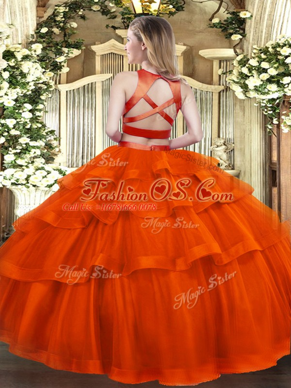 Rust Red Sleeveless Floor Length Ruffled Layers Criss Cross 15 Quinceanera Dress