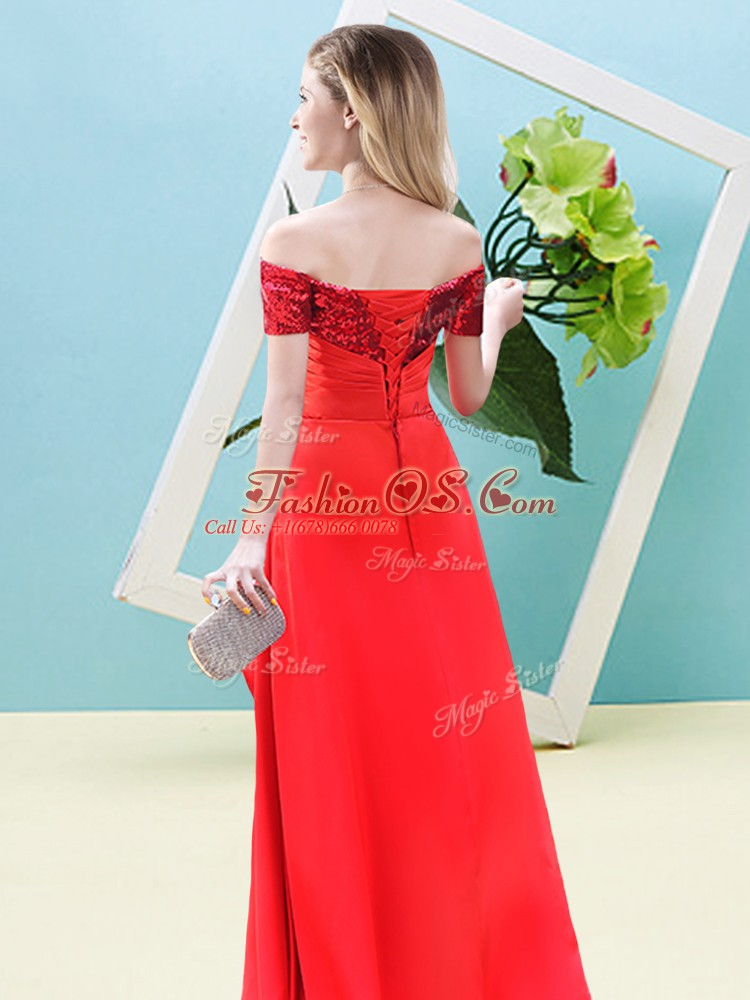 Short Sleeves Elastic Woven Satin and Sequined Ankle Length Lace Up Prom Dress in Blue with Beading