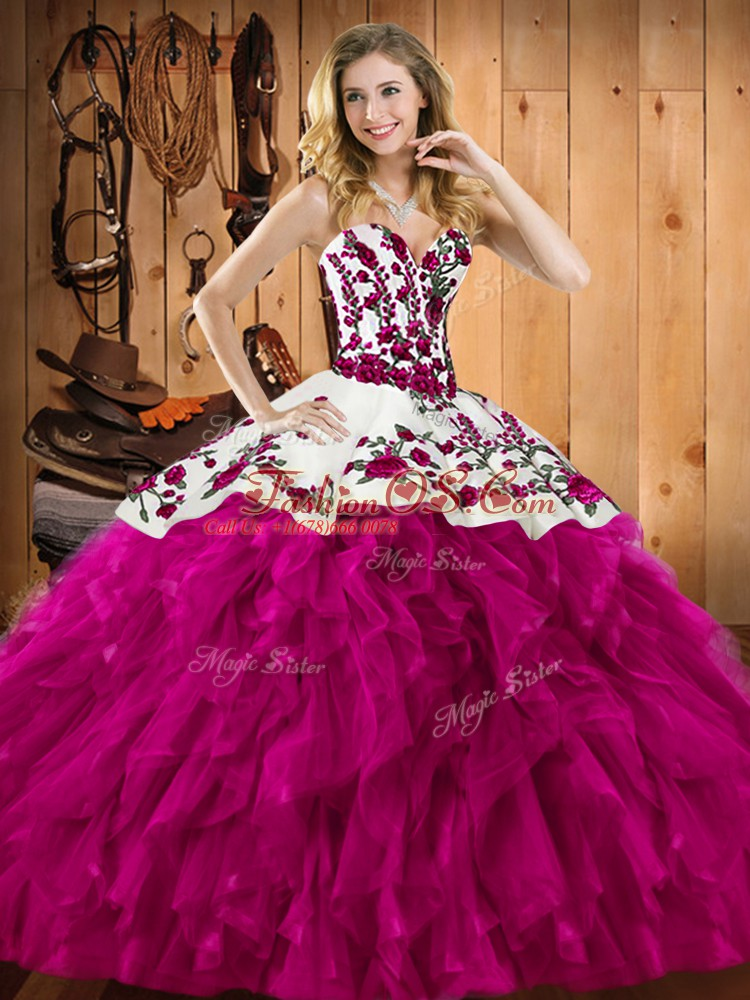 Stunning Sleeveless Floor Length Embroidery and Ruffles Lace Up Sweet 16 Dresses with Fuchsia