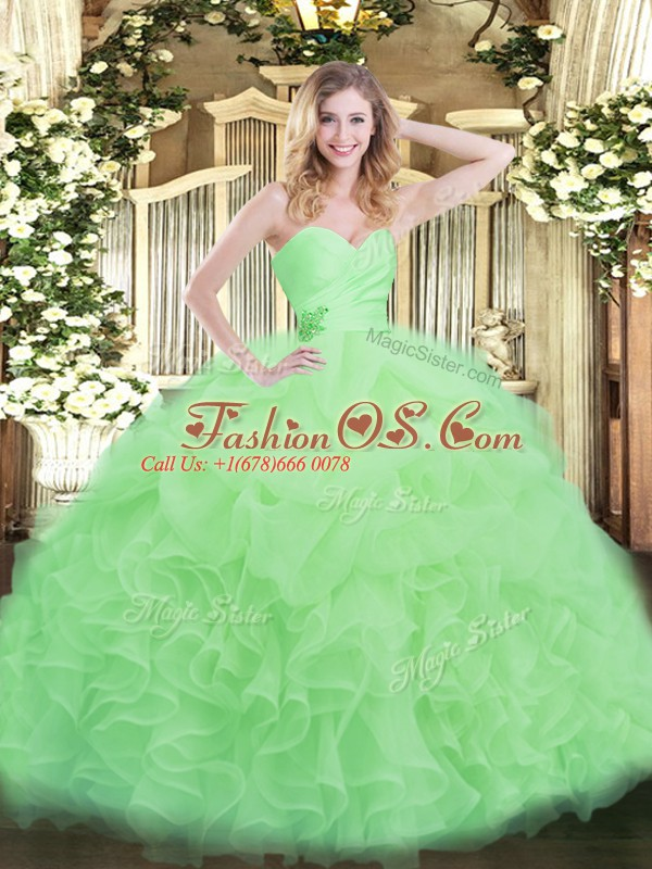Floor Length Apple Green 15 Quinceanera Dress Sweetheart Sleeveless Lace Up