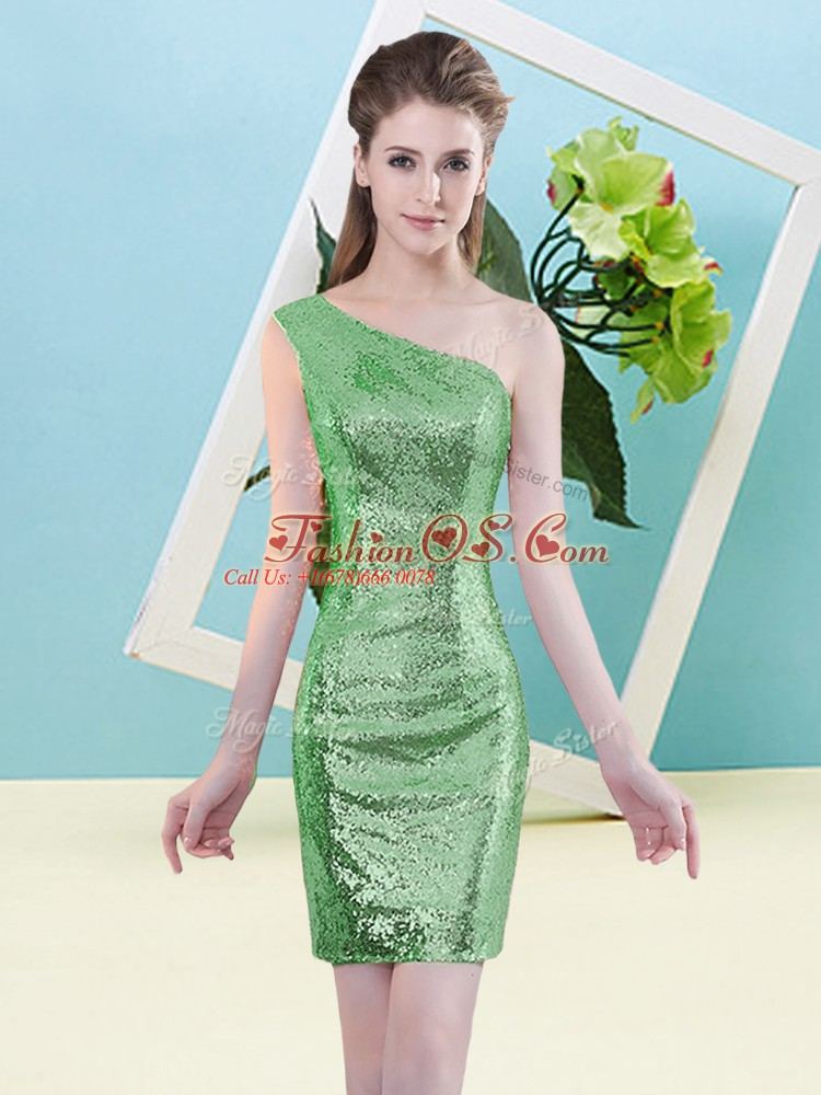 Custom Made Green Zipper One Shoulder Sequins Homecoming Dress Sequined Sleeveless