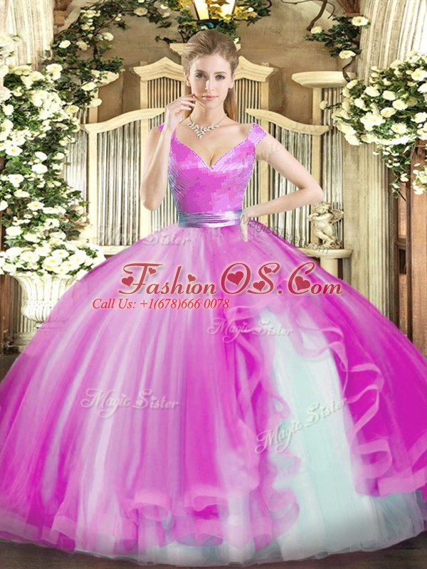 Elegant Hot Pink Ball Gowns Beading and Ruffles Sweet 16 Dress Zipper Tulle Sleeveless Floor Length