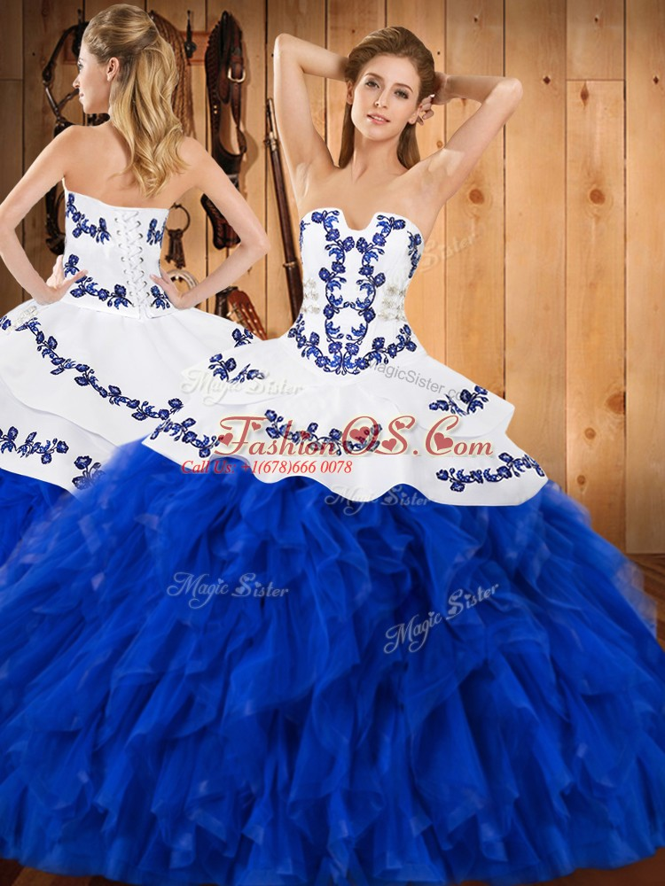 Amazing Blue And White Lace Up Strapless Embroidery and Ruffles Sweet 16 Dresses Satin and Organza Sleeveless