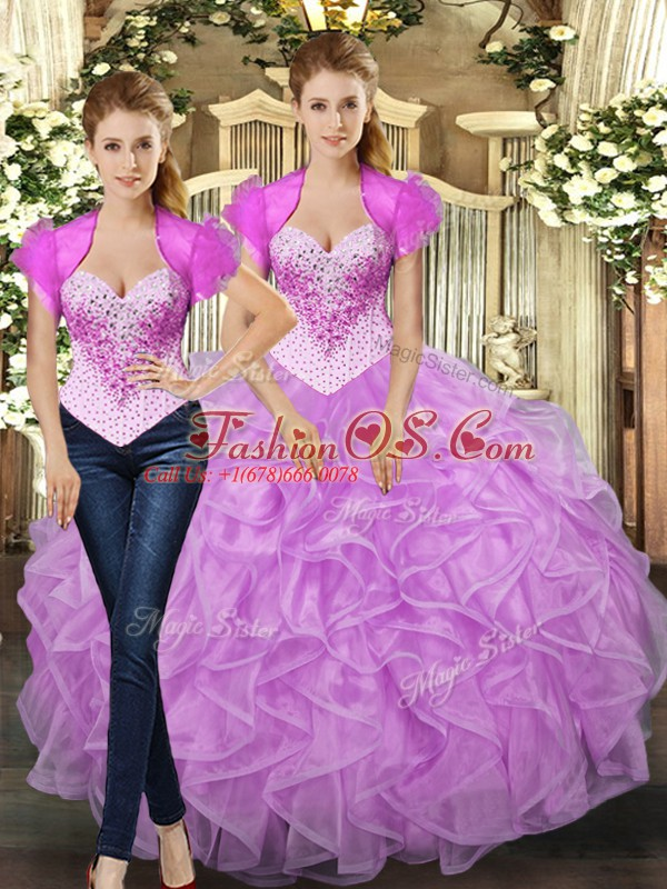 Colorful Lilac Sleeveless Floor Length Beading and Ruffles Lace Up Quinceanera Dress
