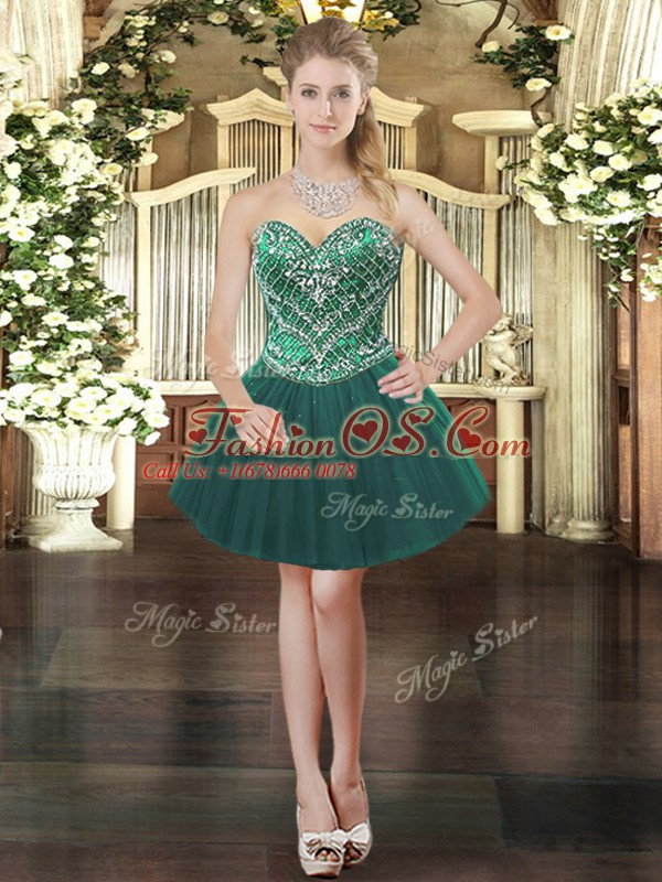 Fantastic Dark Green Ball Gowns Sweetheart Sleeveless Tulle Mini Length Lace Up Beading Prom Evening Gown